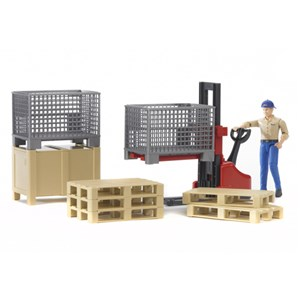 Bruder Bworld Logistics Figure Set With Fork Lift Crates & Pallets