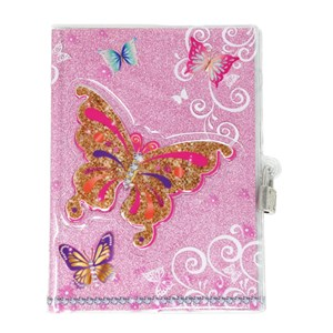 Pink Poppy Butterfly Skies 3d Lockable Diary